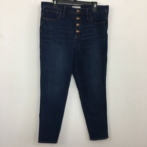 "Madewell 10"" High Rise skinny button fly jeans 32"